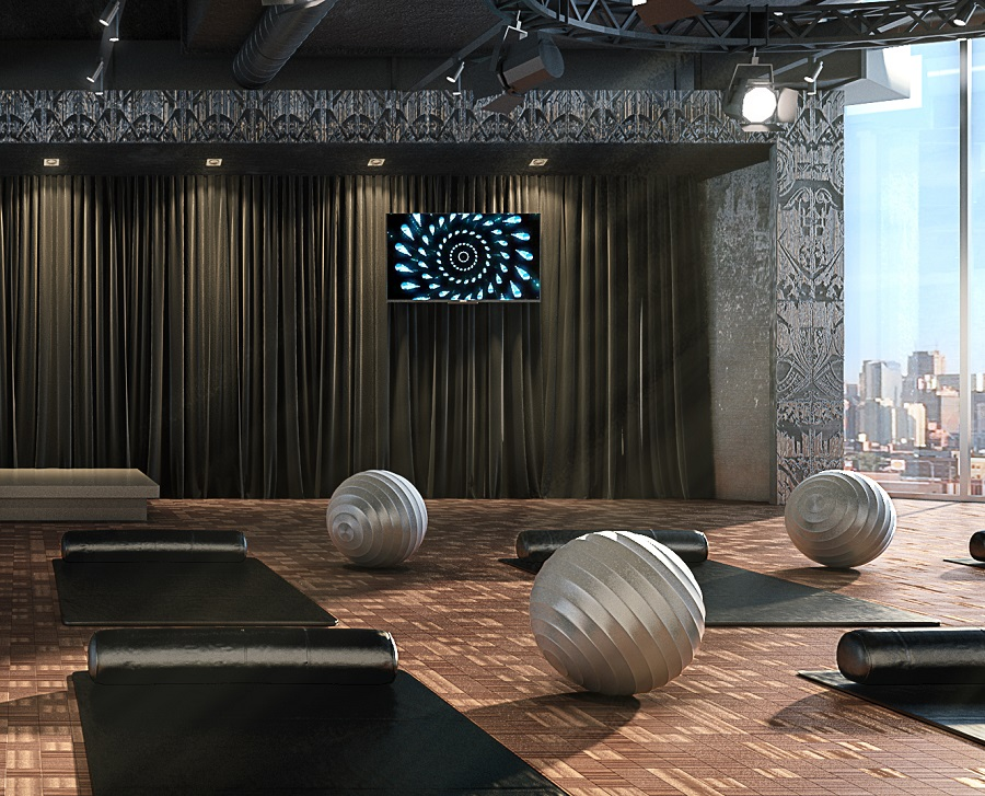 fitness center at boutique chicago hotel